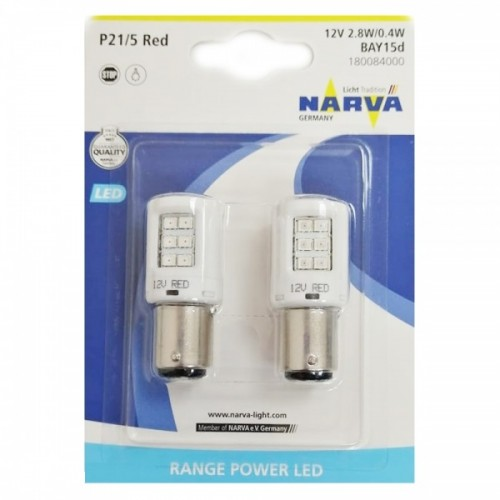 Narva 18008 W21/5 LED Red B2 12V 2,7W BAU15s комплект